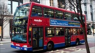 London bus with campaign slogan