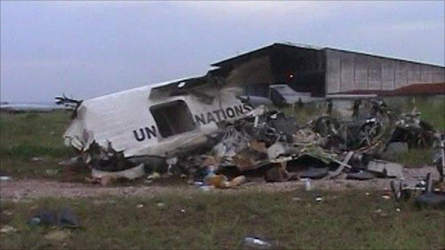 UN plane wreckage