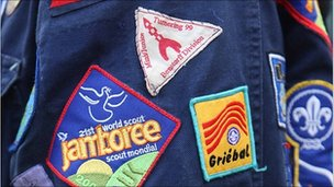 Badges on scout's uniform