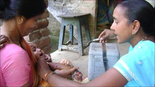 A baby being vaccinated in Bihar