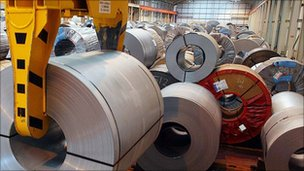 rolls of steel in factory