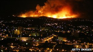 Forest fire at night, South-East France (Getty Images)