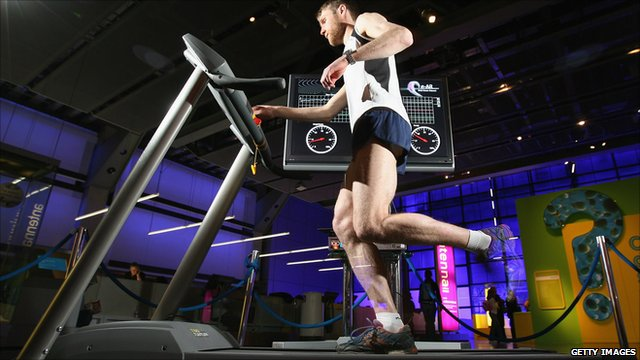 Julien Pansiot of Imperial College London demonstrates new running technology at The Science Museum
