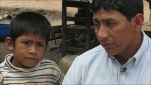Local Wichi tribesman Florentino (right) with his son