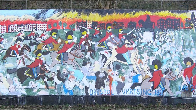 Mural depicting the Bristol massacre of 1831