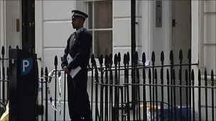 Police officer outside Gareth Williams's flat in London