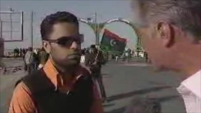 Libyan fighter talks to Tim Wilcox