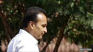 Anil Ambani leaves a parliamentary complex after his appearance before the committee