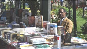 A bookseller at a book fair in Tahrir square