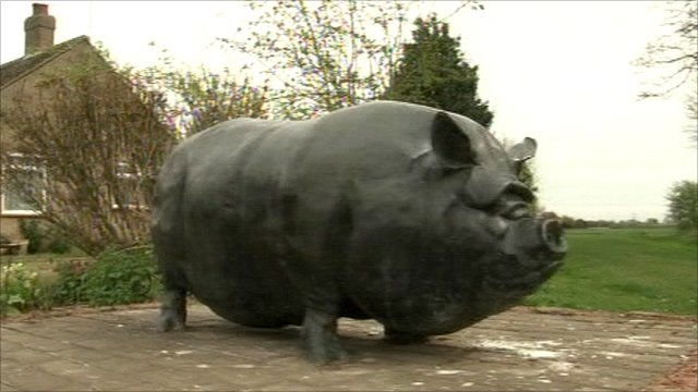 The metal pig sculpture known locally as the Whapplehog