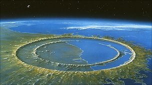 Artwork of Chicxulub crater