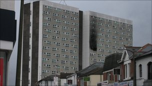 Shirley Towers in the days after the fire