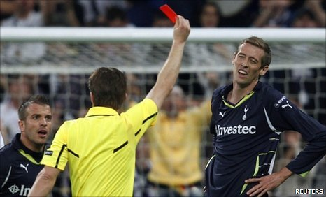 Peter Crouch is sent off