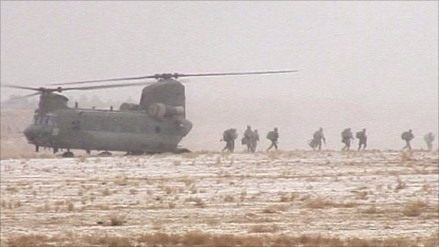 Troops landing on Afghanistan