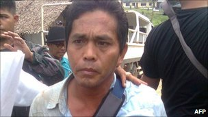 Philippine school official Hipolito Lastimado, one of the hostages freed by the gunmen
