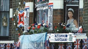 House decorated for Queen&#039;s Silver Jubilee
