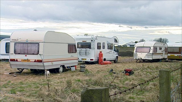 A traveller camp in north east Scotland