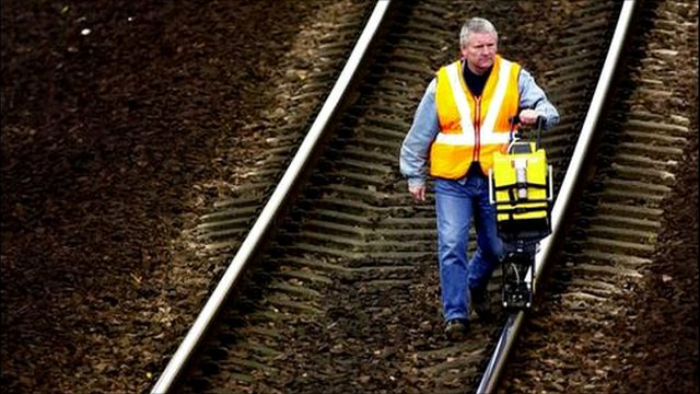 Man walking along a railway line