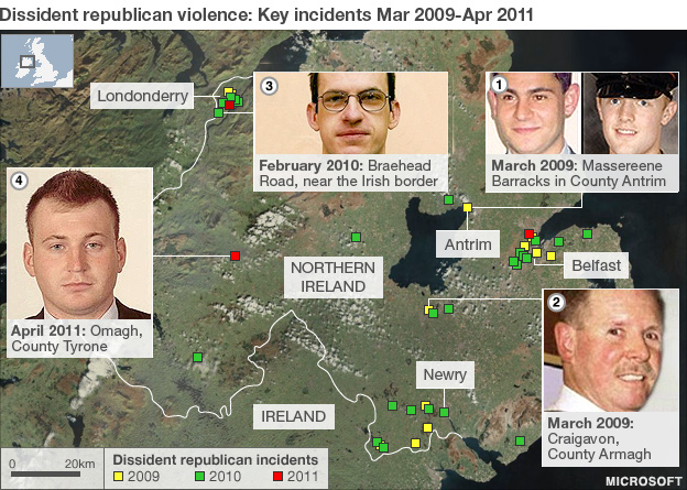 Map outlining dissident attacks