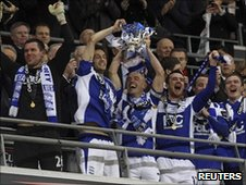 Birmingham City celebrate winning the Carling Cup and qualifying for Europe