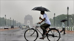 Man on a bike in New Delhi