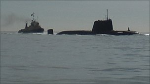 The nuclear submarine arriving in Southampton Water on Wednesday