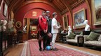 Jack Charlton with Rothbury Football Club players Craig Sutton and Richard Hooks