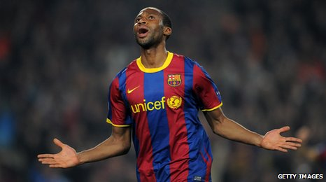 Seydou Keita celebrates after his goal for Barca against Donetsk