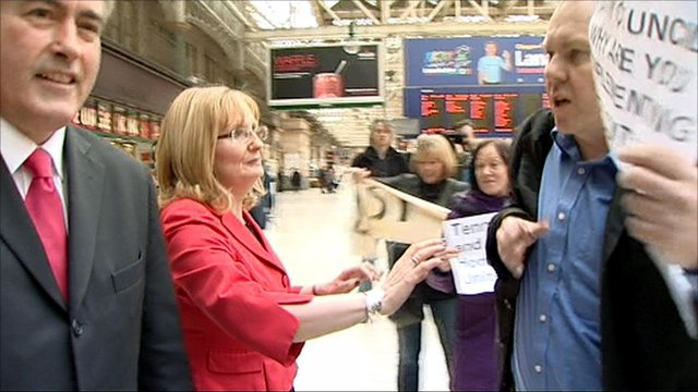 Iain Gray faces protesters in Central Station