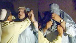 John Simpson donning his burka