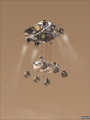 MSL landing on its skycrane