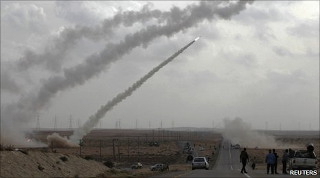 Rebel rockets fired in the Libyan desert, near Brega, on 6/4/11