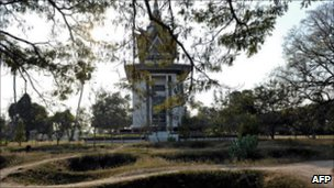 The Choeung Ek memorial stupa 