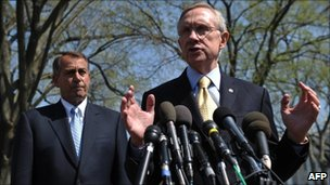 House Speaker John Boehner (left) and Senate Majority Leader Harry Reid (right)