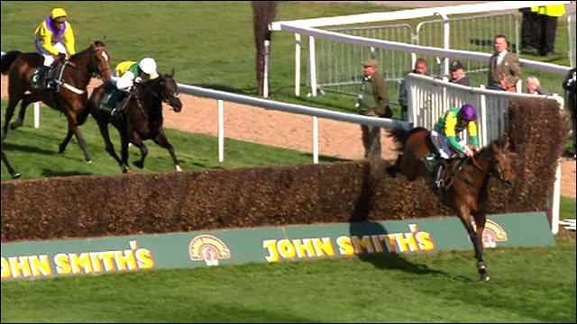 Master Minded jumps the last at Aintree