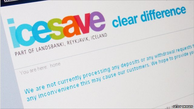 Website of the Icelandic internet bank Icesave