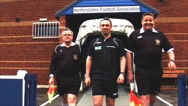 5Live's George Riley attempts to referee a football match