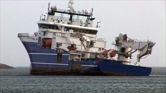 The Bibby Topaz ran aground on rocks at Lerwick harbour