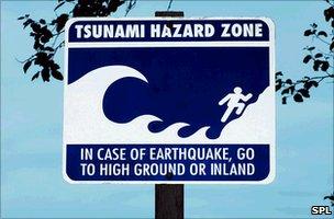 Tsunami warning sign in US