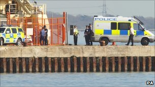 Police officers who were called to the shooting at Southampton docks