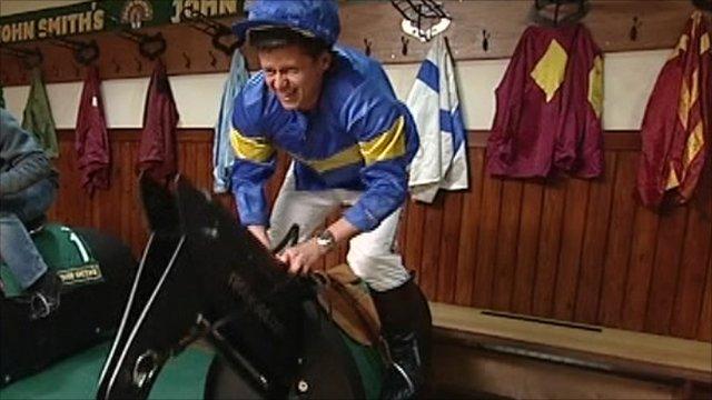 Bushell on fake horse
