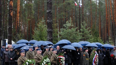Grieving relatives of the victims of the April 2010 crash visit Katyn on 9 April 2011.