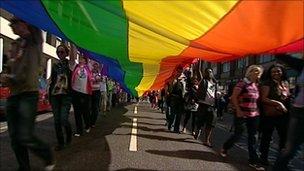 Exeter Pride rainbow parade