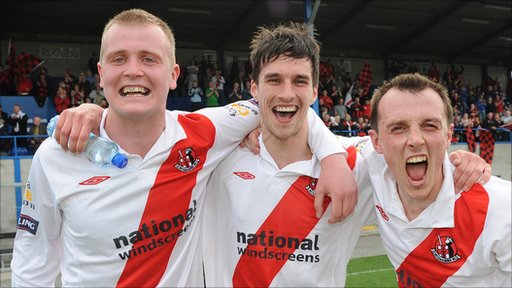 Crusaders goalscorers Jordan Owens, Declan Caddell and Michael Halliday