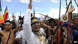 Marlon Santi, president of Ecuador's main indigenous federation, leading protests outside the summit.