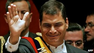 Rafael Correa waves after being sworn in as Ecuador's president on 15 January 2007