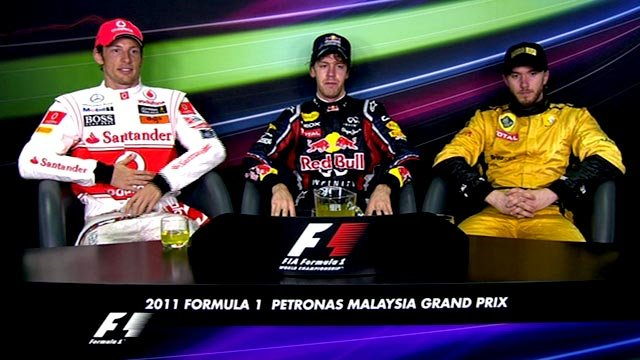 Jenson Button, Sebastian Vettel and Nick Heidfeld