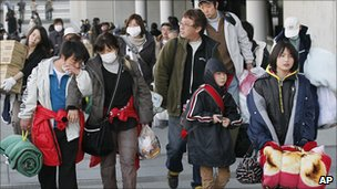 Japanese shoppers in a street