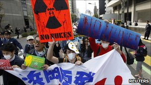 Anti-nuclear protesters in Tokyo, 10 April
