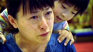 Keiko Niinuma and one of her children